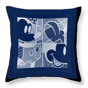 Mickey In Negative Deep  Blue Throw Pillow