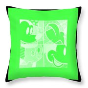 Mickey In Negative Light Green Throw Pillow