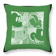 Mickey In Negative Olive Green Throw Pillow