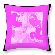 Mickey In Negative Pink Throw Pillow