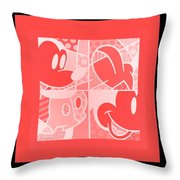 Mickey In Negative Red Throw Pillow