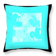 Mickey In Negative Turquois Throw Pillow