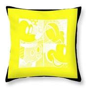 Mickey In Negative Yellow Throw Pillow