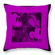 Mickey In Purple Throw Pillow