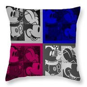 Mickey In Quad Colors Throw Pillow
