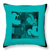 Mickey In Turquois Throw Pillow