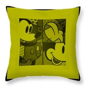 Mickey In Yellow Throw Pillow