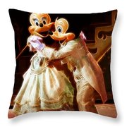 Micky And Minnie Mouse Skate Throw Pillow