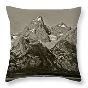 Middle Grand Owen And Teewinot Throw Pillow