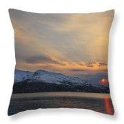 Midnight Sun Over Tjeldsundet Strait Throw Pillow