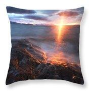 Midnight Sun Over Vågsfjorden Throw Pillow