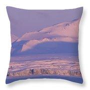 Midnight Sunlight On Polar Mountains Throw Pillow