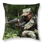 Midshipman Participates In A Combat Throw Pillow