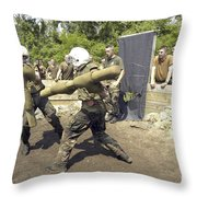 Midshipmen Battle With Pugil Sticks Throw Pillow