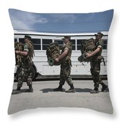 Midshipmen Carry Their Packs And Board Throw Pillow