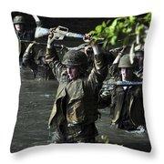 Midshipmen Cross A Creek During Sea Throw Pillow