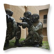 Midshipmen Take Cover During Urban Throw Pillow