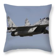 Mig-29 Of The Slovak Air Force Throw Pillow