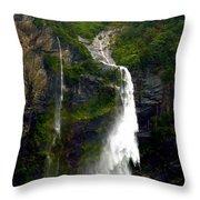 Milford Sound Waterfall Throw Pillow