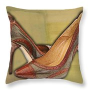 Military Camouflage Stilettos With Tassels Throw Pillow