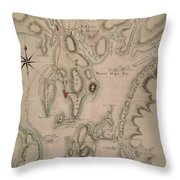 Military Plan Of The North Part Of Rhode Island Throw Pillow