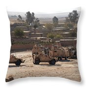 Military Vehicles Parked Outside Loy Throw Pillow