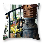 Milkcan And Birdhouse Throw Pillow