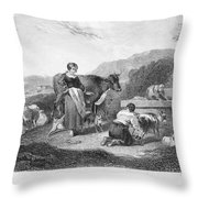 Milking, 17th Century Throw Pillow