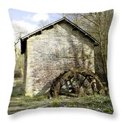 Mill And Water-wheel Near Ashford-in-the-water Throw Pillow