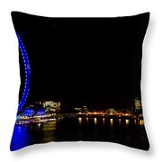 Millenium Wheel And London Night View  Throw Pillow