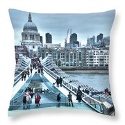 Millennium Bridge And St Paul's Cathedral Throw Pillow