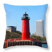 Milwaukee Harbor Lighthouse Throw Pillow