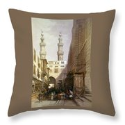 Minarets And Grand Entrance Of The Metwaleys At Cairo Throw Pillow