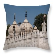 Minarets And Structure Of Pearl Mosque Inside Red Fort Throw Pillow