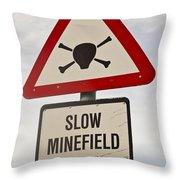 Minefield Road Sign Falkland Islands Throw Pillow