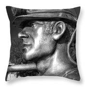 Miner Statue Monochrome Throw Pillow