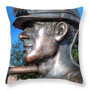 Miner Statue Throw Pillow