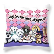 Miracles With Paws Throw Pillow by Catia Cho