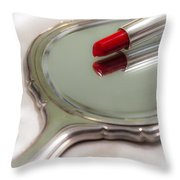 Mirror And Lipstick Throw Pillow