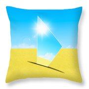 Mirror On Sand In Blue Sky Throw Pillow