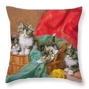 Mischievous Kittens Throw Pillow