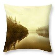 Mist Across The Water Loch Ard Throw Pillow