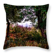 Mist Beyond The Apple Trees Throw Pillow