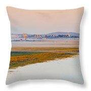 Mist Over The Fields And Village Throw Pillow
