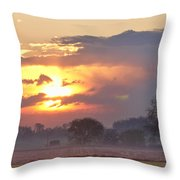Misty Country Sunrise  Throw Pillow