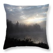 Misty Dawn On Boot Lake Throw Pillow by Larry Ricker