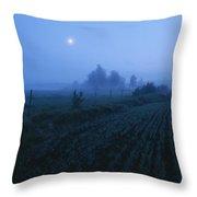 Misty Farm Landscape Throw Pillow