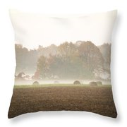 Misty Haystacks Throw Pillow
