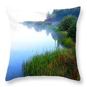 Misty Morning Big Ditch Lake Throw Pillow