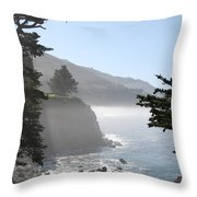 Misty Morning On The Big Sur Coastline Throw Pillow by Camilla Brattemark